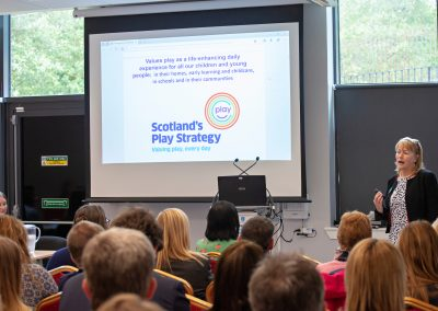Marguerite Hunter Blair, Chief Executive of Play Scotland, gave a thought-provoking presentation.